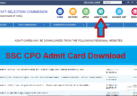 SSC CPO Admit Card 2019- SI/ASI posts